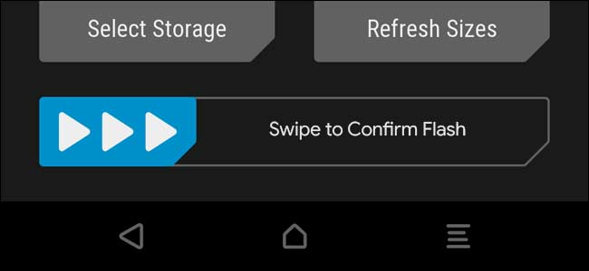 Swipe to confirm flash